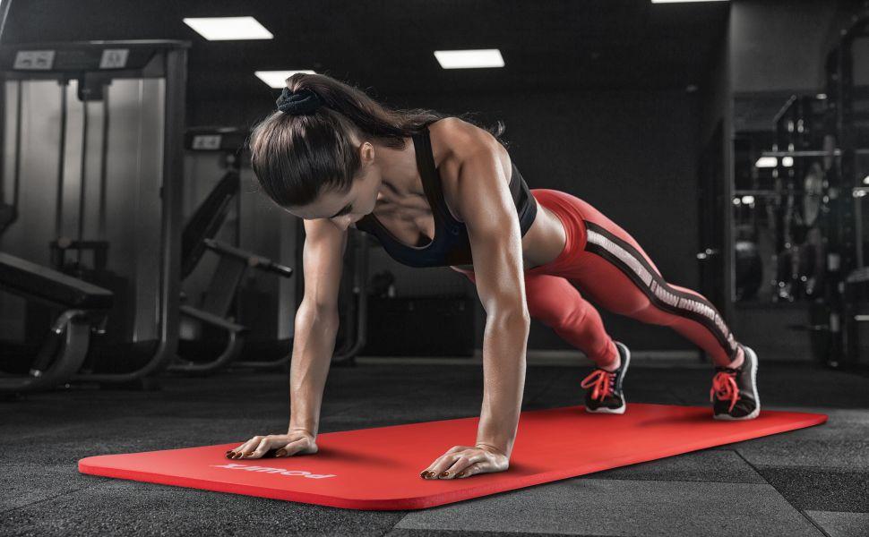 Tapis de Gymnastique POWRX Tapis de Sol Pilates Yoga Anti-Dérapant sans phtalates
