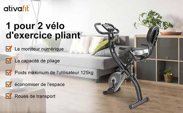 Vélo d'Appartement ATIVAFIT avec Dossier